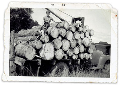 old photo of wood on a truck